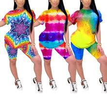 Ensemble deux pièces imprimé Tie-dye pour femmes, T-shirt à col rond et manches courtes, survêtement moulant, tenue d'entraînement, Streetwear
