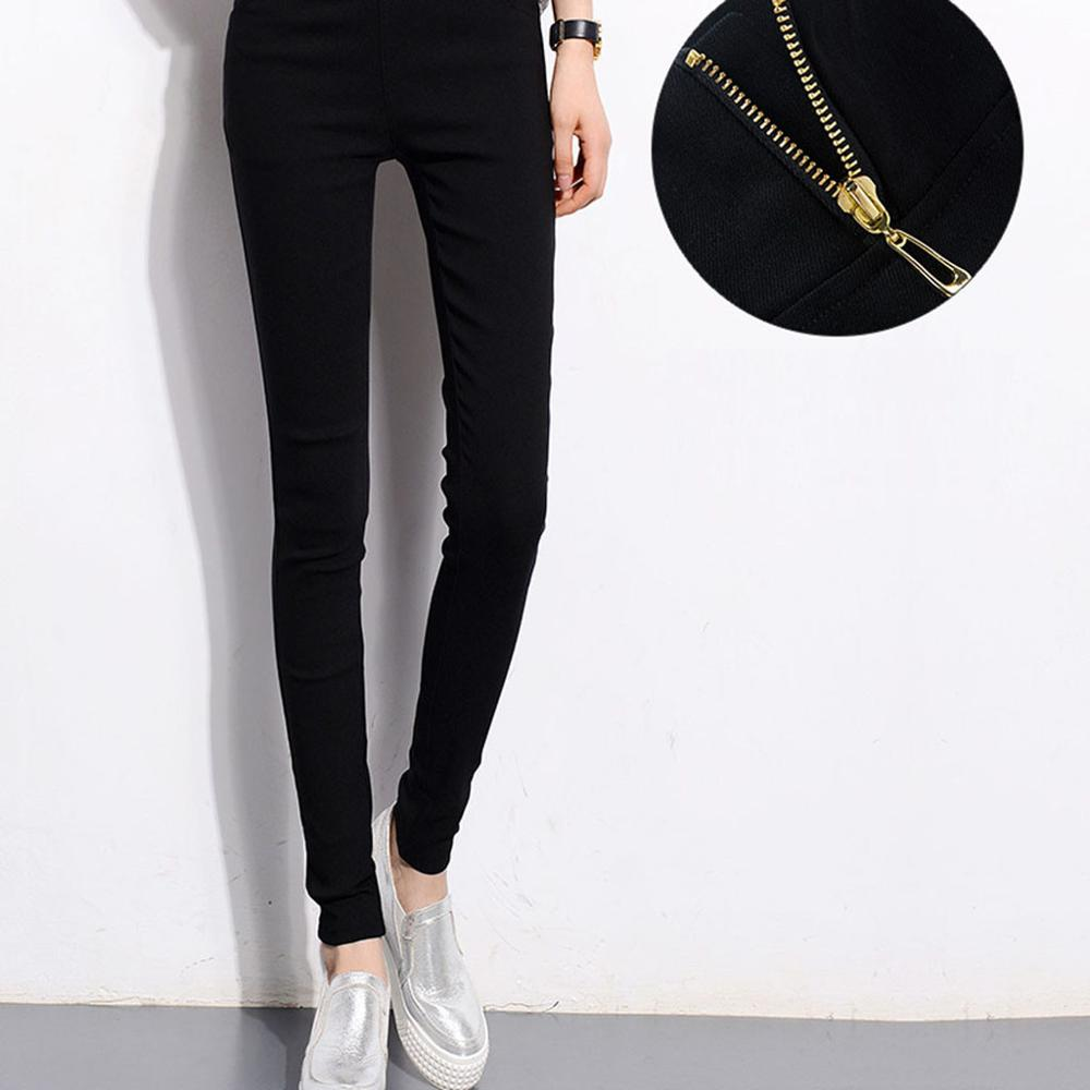 Fashion Women's High Waist Skinny Stretch Pencil Pants Slim Fit Trousers Stylish Female Zipper Femme Long Pants  J30