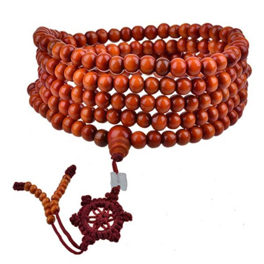 Crvena drvena perla narukvica za muškarce / žene 5 mm / 6 mm budizam 216pcs Drvena krunica Bodhi sandalovina molitvene perle tibetanska narukvica od malih perlica