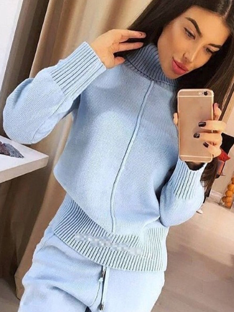 Knitted Suit Pants Sweater Two-Piece-Set TAOVK Woolen High-Collar Women's Costume Loose-Style