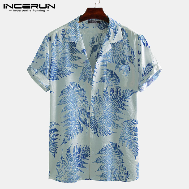 INCERUN Men Short Sleeve Lapel Printed Shirt Tropical Leaf Pattern Floral Shirt Casual Summer Hawaiian Holiday Camisa Tops S-5XL 4
