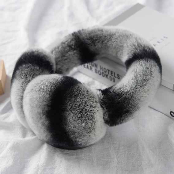New Black Rex Rabbit Fur Ear Muffs