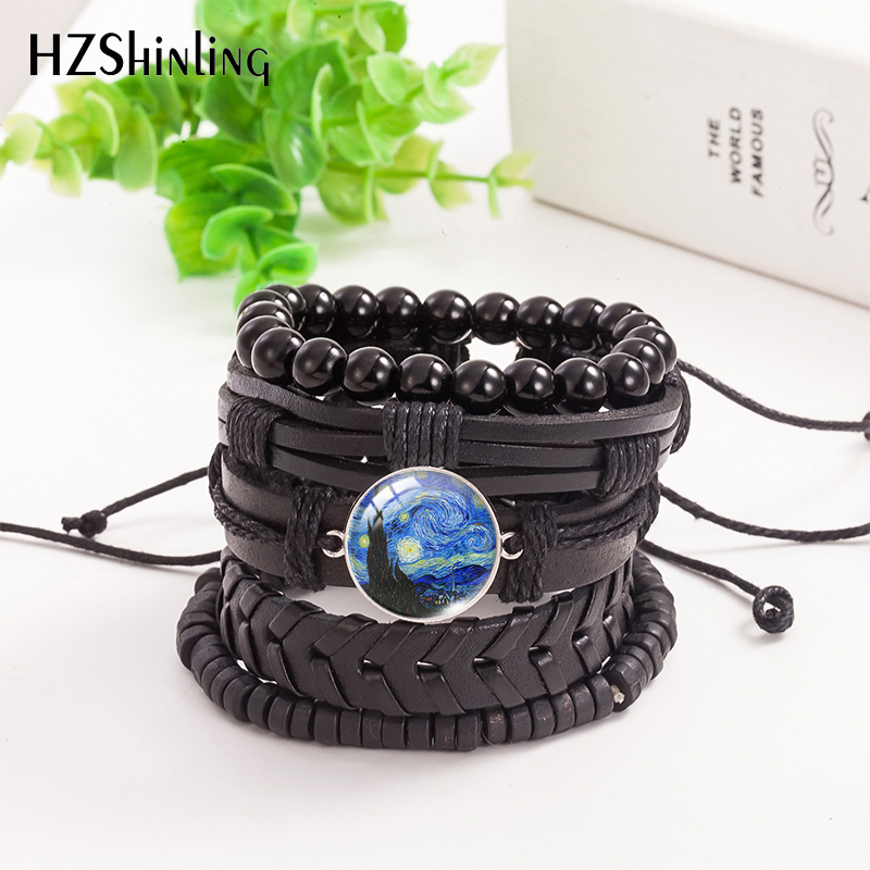 2021 New 5pcs/set Van Gogh Painting Leather Bracelet Branches of an Almond Tree Bracelets Glass Dome Photo Jewelry Men Women