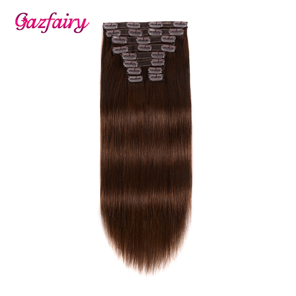 Gazfairy Silky Straight Clip Ins 100% Real Remy Hair 24'' 10pcs/set 220g Clip In Human Hair Extensions Full Head Double Drawn