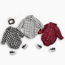 Sanlutoz algodão manga longa bebê bodysuits xadrez moda bebê meninos roupas de outono infantis roupas do bebê