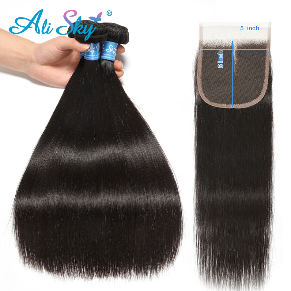 Alisky Hair Brazilian Straight Hair 3 Bundles With 5x5 Lace Closure Remy Human Hair Extensions Human Hair Weave Bundles Natural