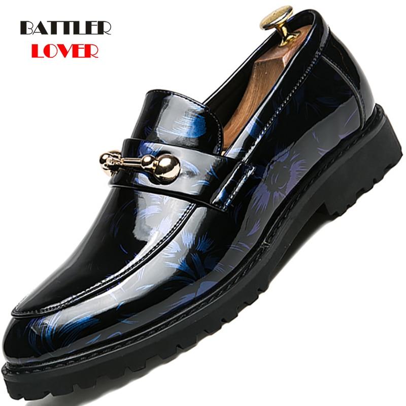 Men Luxury Italian Style Oxfords Men Dress Shoes Office Shadow Patent Leather Platform Sole Fashion Groom Business Wedding Shoes