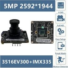Панель модуля ip камеры Panorama 3516E + Sony IMX335 5MP 2592*1944 с объективом H.265 Низкое освещение 38*38 CMOS Onvif CMS XMEYE