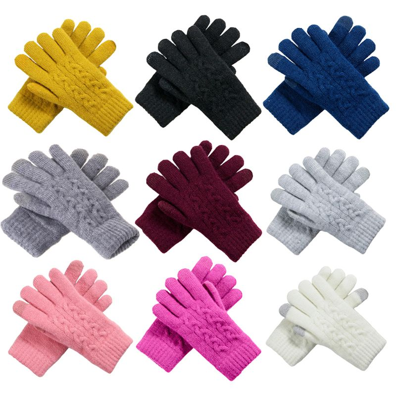 Women Winter Crochet Knitted Full Finger Gloves Touchscreen Thick Plush Lined Wrist Warmer Solid Color Stretchy Magic Mittens