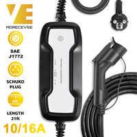 Type 1 Portable EV boîte de charge câble commutable 10/16A Schuko prise véhicule électrique chargeur de voiture EVSE SAE J1772 5M 220V