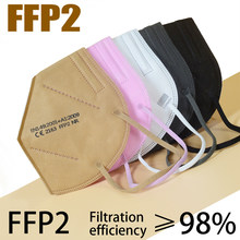 Masque respirateur 6 couches, CE FFP2, masque de protection pour le visage, filtre pour adultes, Filtration fpp2, masque buccal gris