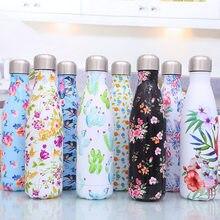 500ml dupla-parede de aço inoxidável garrafa térmica caneca térmica forma de coque garrafa de água esporte para meninas garrafa de vácuo feminino viagem caneca copo