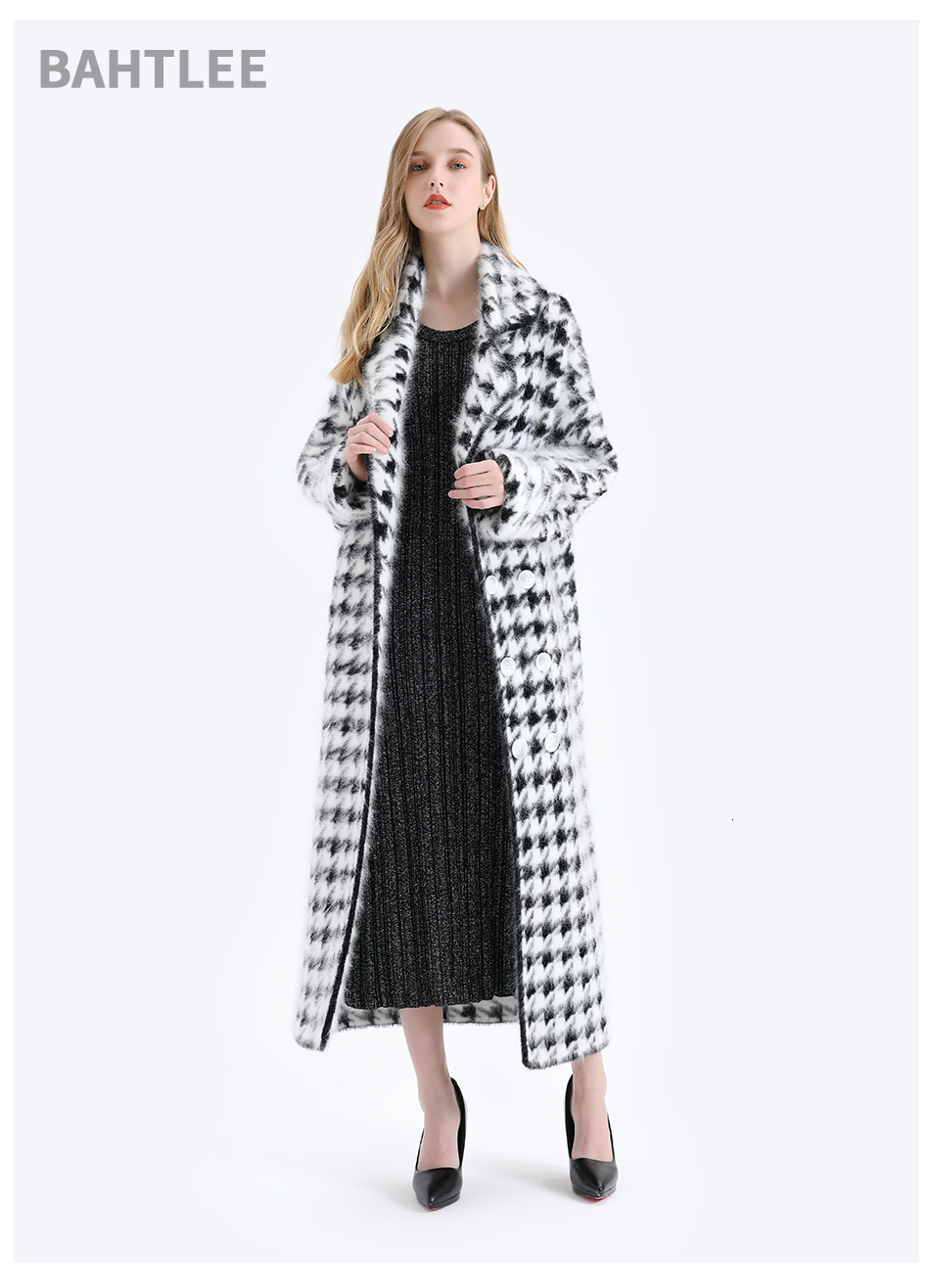 BAHTLEE Women Angora Long Coat Houndstooth Pattern Sweater Winter Wool Knitted Cardigans Jumper Turn Down Collar Long Sleeves 5