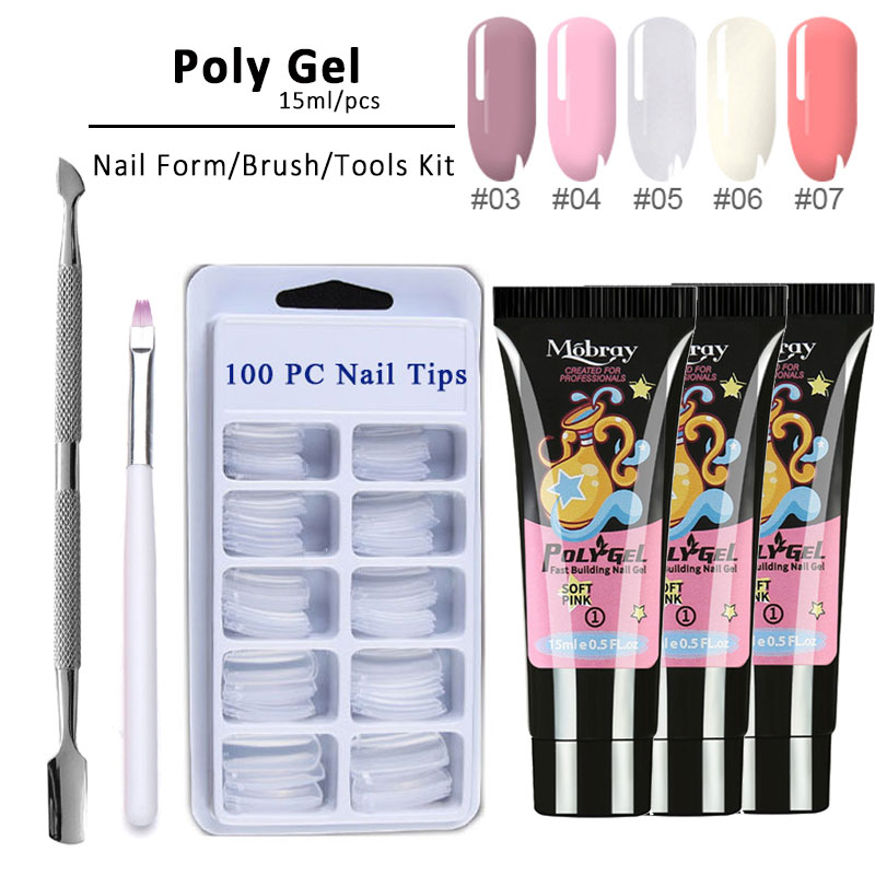 Polygel/kit Poly Gel Set LED Clear UV Gel Varnish Nail Polish Kit Quick Building For Nails Extensions Hard Gel Polygel Nail Kit(China)