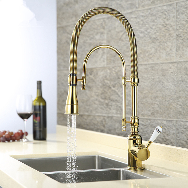 Luxury 3 Type Rose Gold Kitchen Faucet Single Handle Cold&Hot Water Tap Brass Deck Mounted Faucet With Ceramic Handle