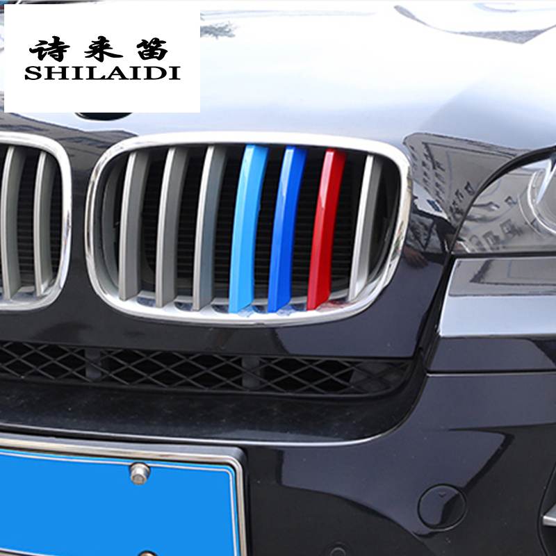 3D M Styling 3 Colors Front Grille Trim Motorsport Stripes Grill Cover Performance Stickers 3Pcs 7Grilles one Side for 08-13 BMW X5 E70