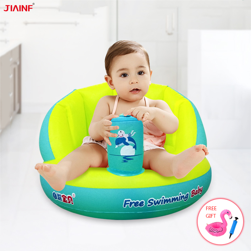 JIAINF 2019 New Baby Shower Bathtub Cushion Inflatable Bathroom Seat Newborn Bathtub Mat Swimming Pool Infant Float Row