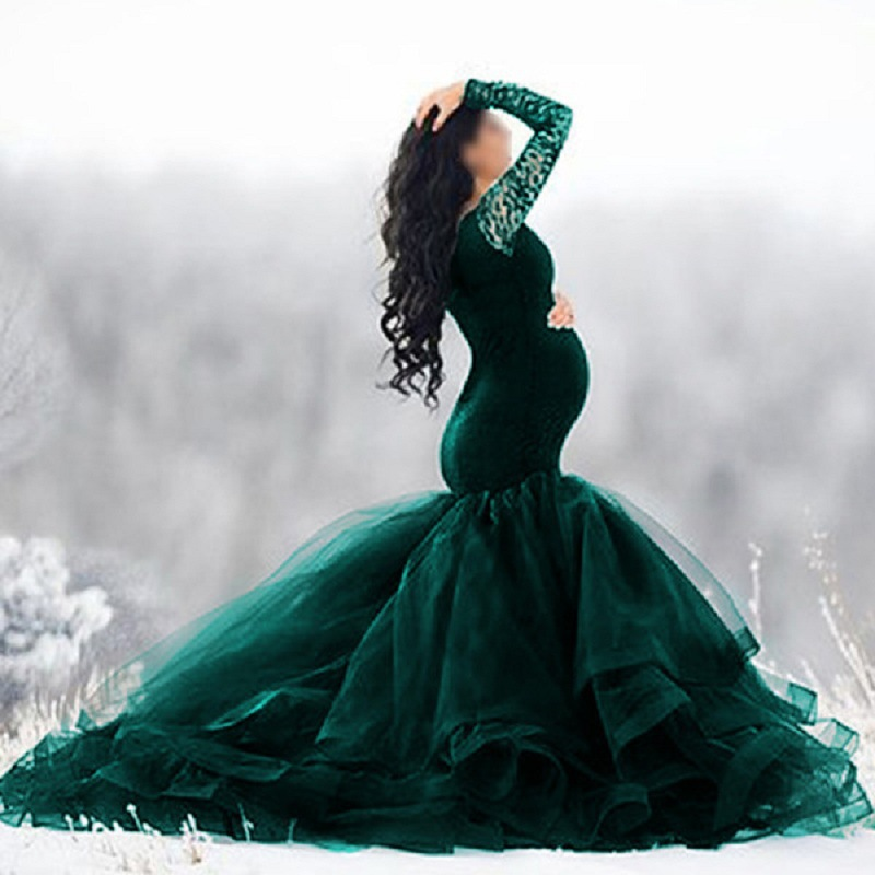 Elegence Maternity Photography Props Dresses Lace Mesh Long Pregnancy Dress For Pregnant Women Maxi Maternity Gown Photo Shoots (2)