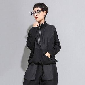 Image 5 - [EAM] Loose Fit Black Line Split Big Size Sweatshirt New High Collar Long Sleeve Women Big Size Fashion Spring Autumn 2020 1A530