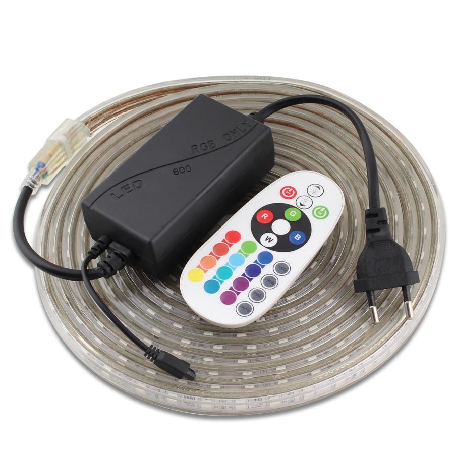 Цветная (RGB) Светодиодный светильник полоска SMD 5050 60 светодиодный/m Водонепроницаемый диммируемая на пульте управления Управление 220 V светод...