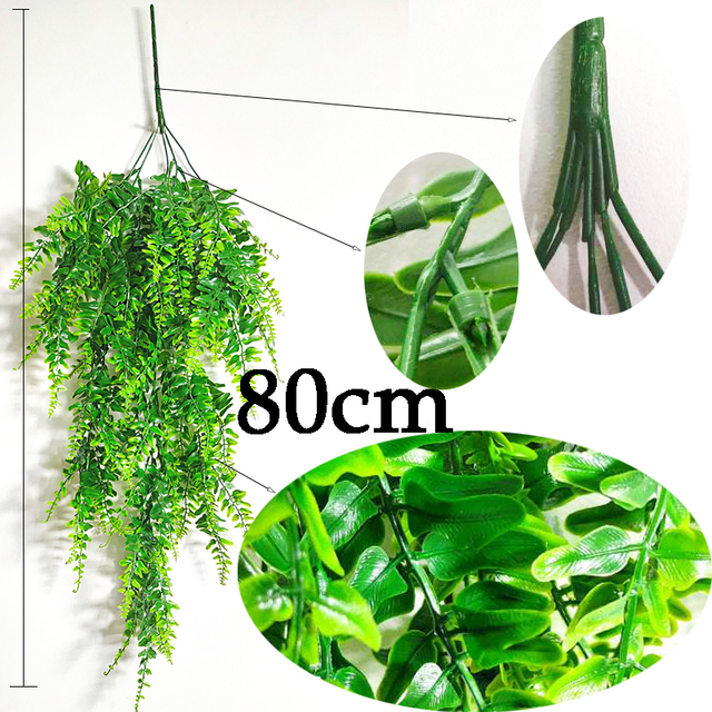 Artificial Plant Vines Wall Hanging Rattan Leaves Branches Outdoor Garden Home Decoration Plastic Fake Silk Leaf Green Plant Ivy 3