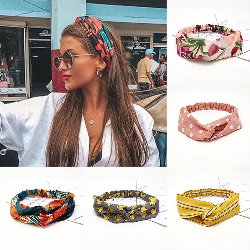 Fashion Women Girls Summer Bohemian Hair Bands Print Headbands Vintage Cross Turban Bandage Bandanas HairBands Hair Accessories