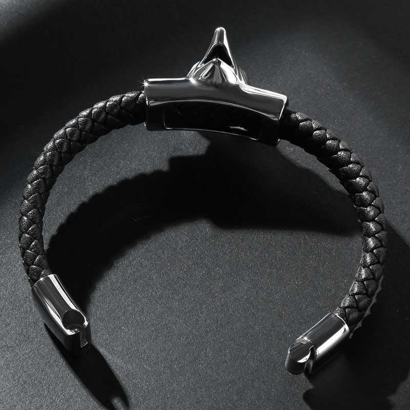 Mode 2019 Neue Trendy Männer Wolf Armband Leder Edelstahl Einfache Armbänder Mann Kollokation Punk Manschette Schmuck PS2135