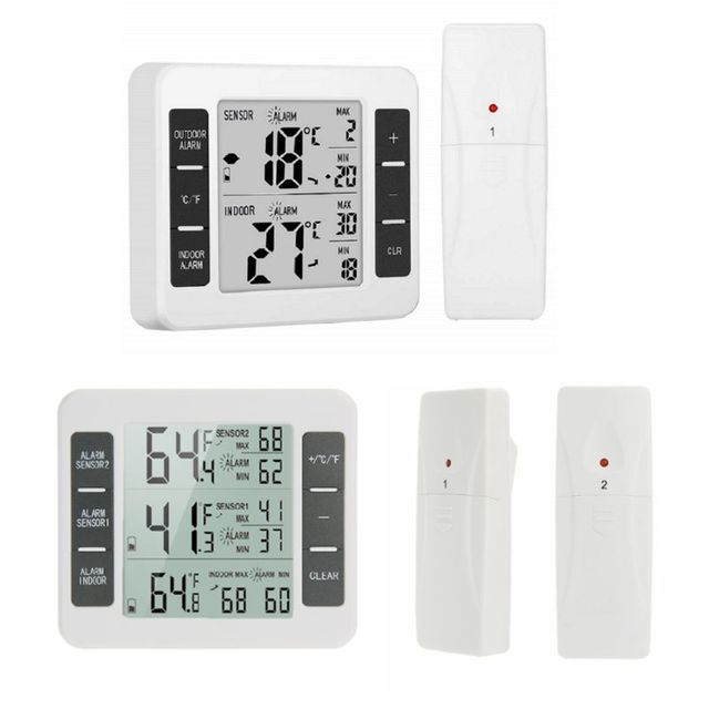 Home Wireless Indoor and Outdoor Thermometers Electronic Wireless Refrigerator Cold Storage Thermometer 94PC
