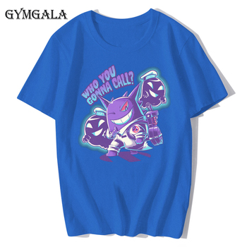 100% cotton anime cartoon Geng ghost printed men's T-shirt summer cotton short-sleeved T-shirt fashion tops tee men's clothing f - XQ-122blue, Asian size XL