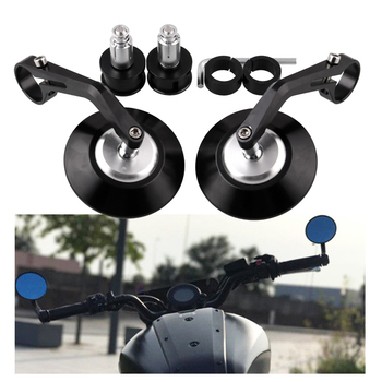 New 7/8in Universal Motorcycle Bar End Rearview Mirrors 22mm Rear View Handle Side Mirrors Round Mirror Motorcycle Accessories