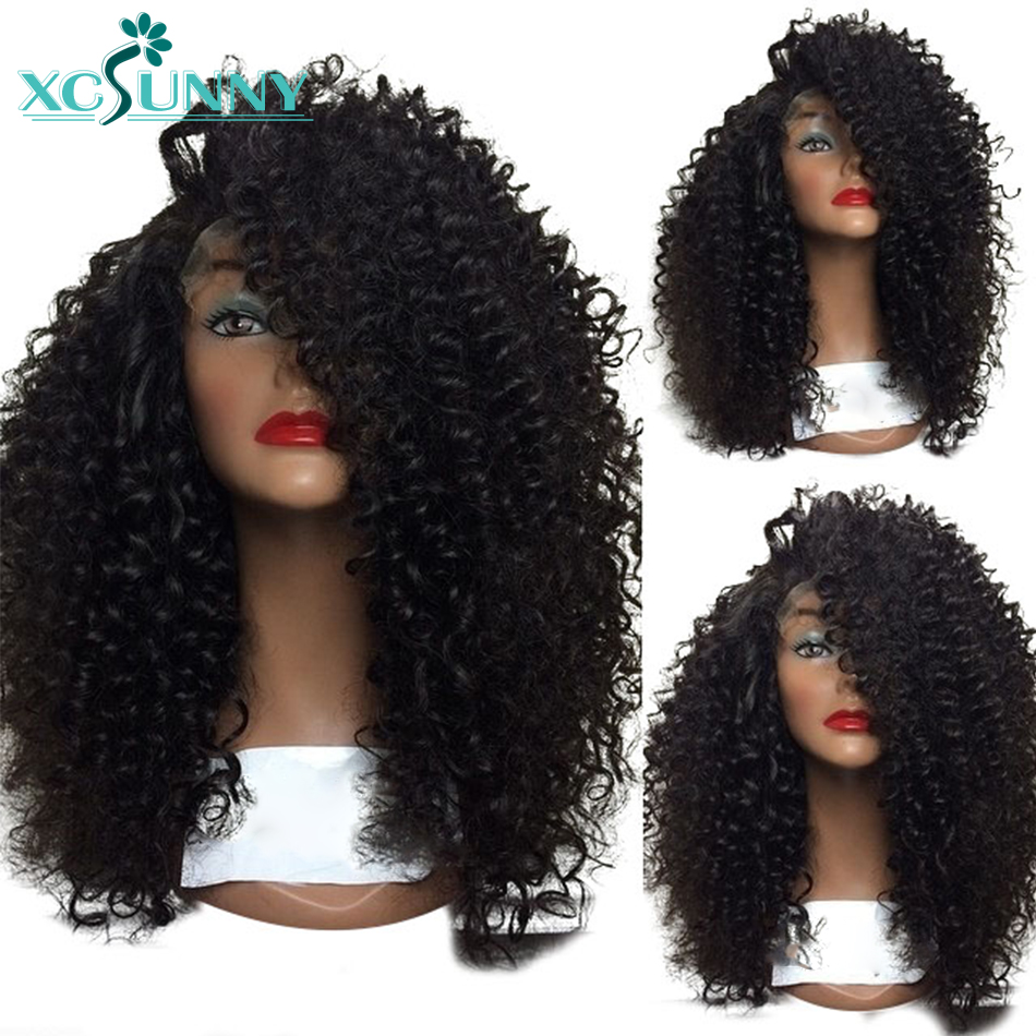 13x6 Afro Kinky Curly Lace Front Wig Glueless Brazilian Remy Human Hair Wigs Natural Black Color For Women Pre plucked xcsunny