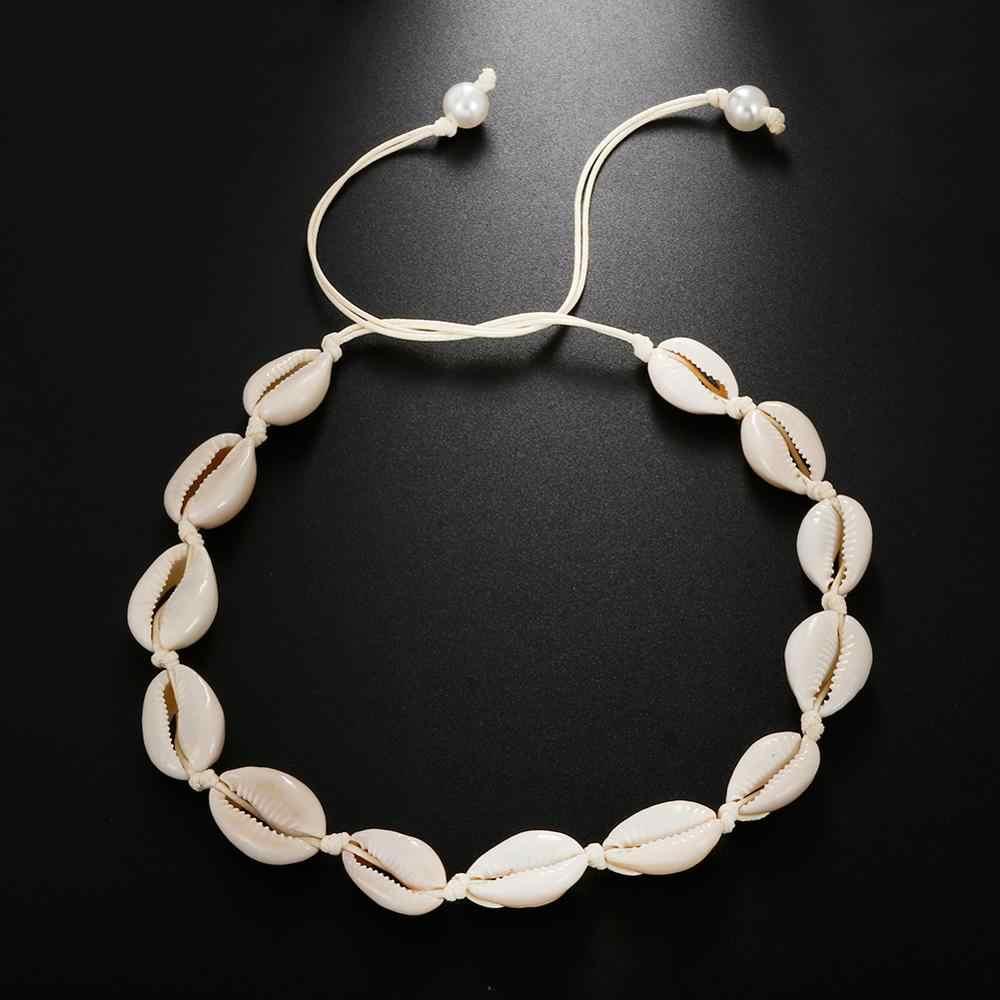 Hot Keong Kerang Kalung Wanita Perhiasan Musim Panas Pantai Shell Kalung Bohemian Tali Cowrie Manik-manik Kalung Buatan Tangan Kerah Wanita