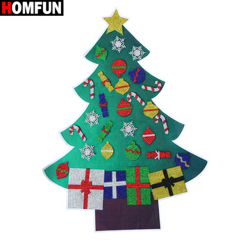 HOMFUN 5D DIY Diamond Painting Christmas Tree New Year Gift Kid Toy Artificial Tree Wall Window Sticker Christmas Home Decor