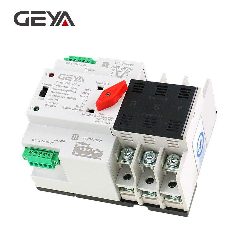 Frete Grátis GEYA W2R-3P Montado Em Trilho Din De Transferência Automática Interruptor Trifásico 100A ATS Chave de Transferência de Energia