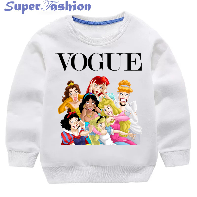Kids Princess Vogue Harajuku Cartoon Girls Sweatshirts Hoodies Children Blouse 2019 Autumn Cotton Toddler Baby Clothes,dKYT008 image