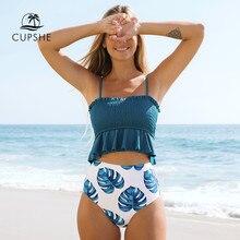 CUPSHE – Bikini smocké imprimé feuilles bleues, maillot de bain deux pièces, style Boho, à volants, taille haute, pour femmes, 2021