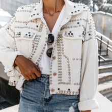 Winter Fall 2019 New Women's Trendy Rivet Lapel Single-Breasted Jackets Fashion