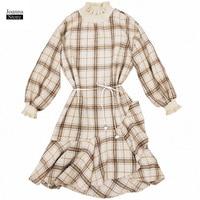 Fall Dress Women Vintage Elegant Plaid Ruffle Dresses Wool Autumn Plus Size Robe Office Dress Streetwear Autumn Party Clothes