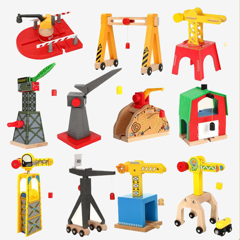 All Kinds of Wooden Train Track Railway Accessories Magnetic Crane Tender Fit For Biro All Brands Wood Track Educational Toys