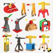 Todos os tipos da trilha de trem de madeira acessórios ferroviários guindaste magnético concurso apto para biro todas as marcas de madeira trilha brinquedos educativos