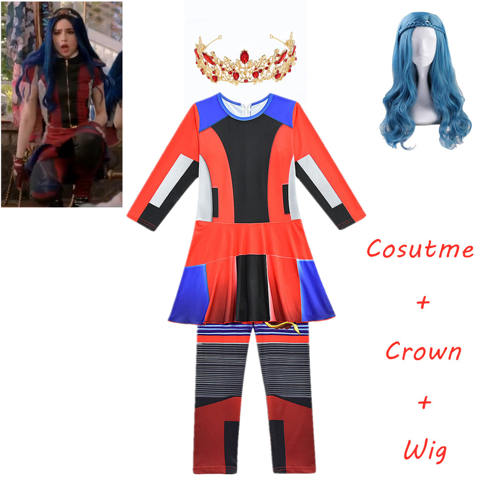 Girls Halloween Descendants 3 Evie Costumes Child Costumes For Kids Girls Costume Party Evie Cosplay Jumpsuits Girl Mermaid Tail