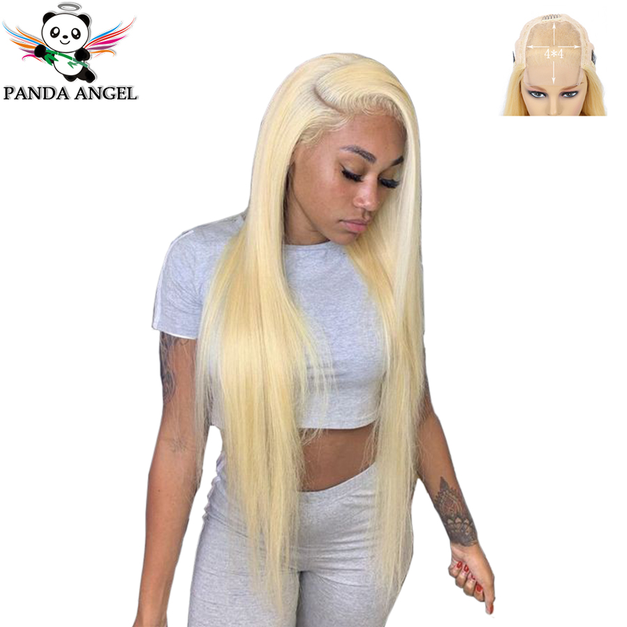 Panda Indian 4*4 Blonde 613 Lace Closure Wigs Remy 150% Density Pre-plucked 613 Blonde Straight Human Hair Wigs For Black Women
