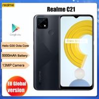 New Global Original realme C21 Smartphone Helio G35 Octa Core 6.5'' inch Screen 5000mAh Massive Battery 3-Card Slot 13MP Camera 1