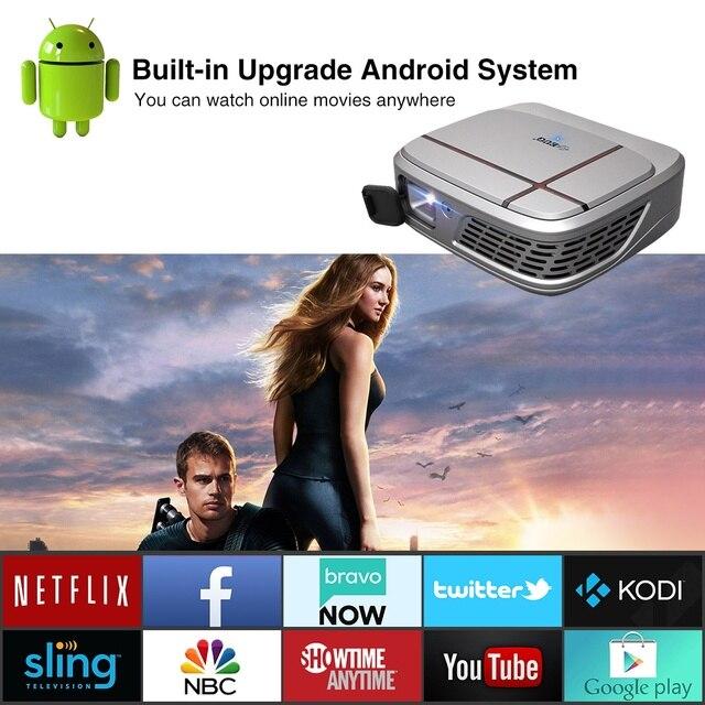 جهاز عرض صغير E3AB DLP محمول 2.4GHZ 5GHZ ثنائي واي فاي أندرويد 7.1 بلوتوث 4.0 جيب فيديو متعاطي المخدرات جهاز إسقاط السينما المنزلية