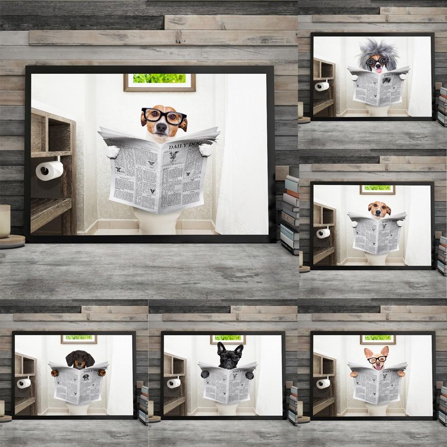 Hund zeitung Wc Bad Wand Kunst Leinwand Malerei Nordic Poster Und Drucke Wand Bilder Für Wohnzimmer Restroom Decor