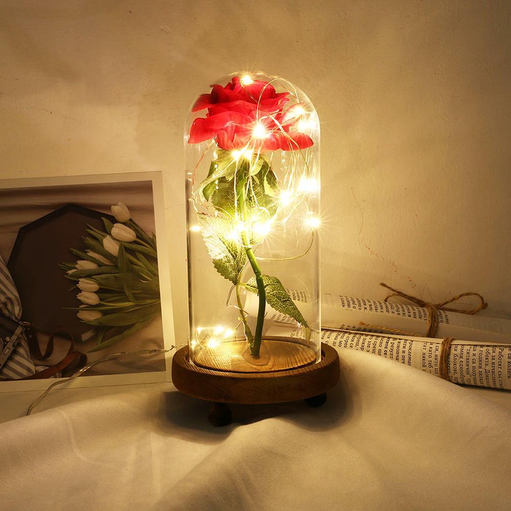Светодиодный Роза строка светильник Стекло домашний декор деревянная основа вечный цветок с фея светильник s в стеклянный купол для Рождес...