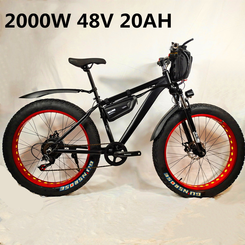 Электрический велосипед, 48 В, 20 Ач, 2000 Вт, Электрический пляжный велосипед с 4,0 толстыми шинами, электрический велосипед 48 В, Мужской горный в...