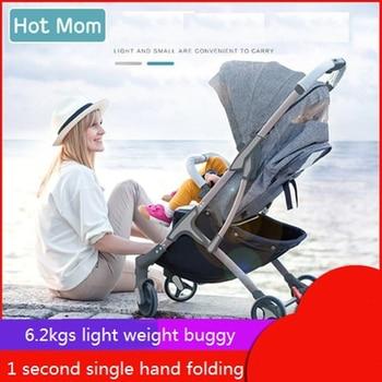 Hotmom Baby Stroller Children Folding Ultra-light Baby Stroller Baby Can Ride Reclining Trolley Umbrella Car 0-3 years old