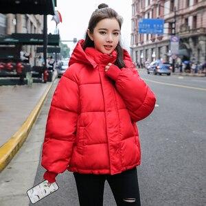 Image 4 - 2020 חדש סתיו חורף מעיל ברדס נשים מעיל Loose כותנה מרופדת קצר מעילי Parka חם מזדמן בתוספת גודל מעיל