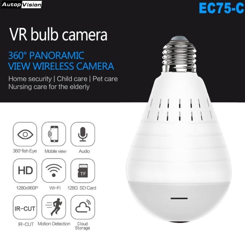 EC-75 WiFi LED Light 960P Wireless Panoramic Home Security CCTV Fisheye Bulb Lamp IP Camera 360 Degree with Night vision